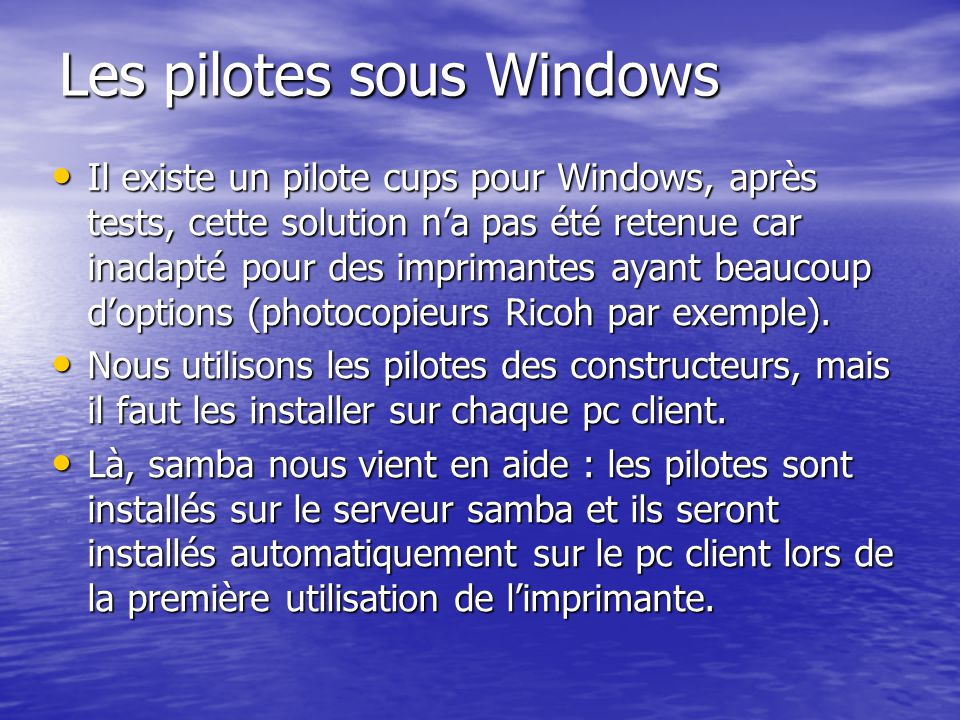 Les pilotes sous Windows