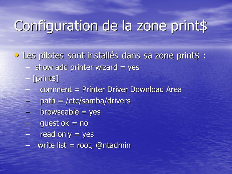 Configuration de la zone print$