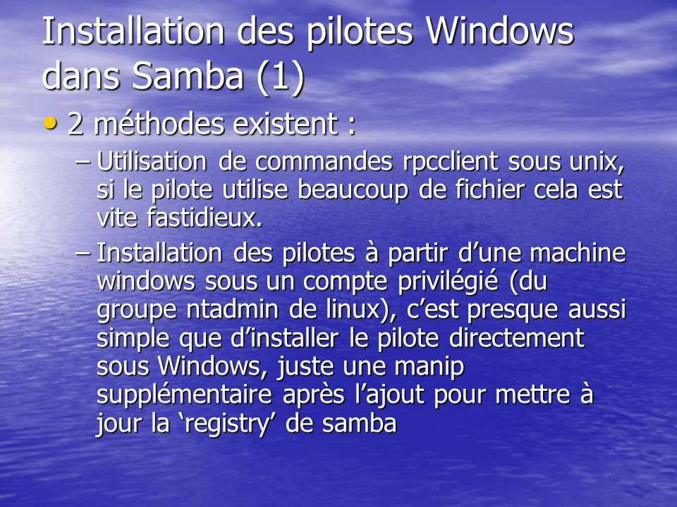Installation des pilotes Windows dans Samba (1)