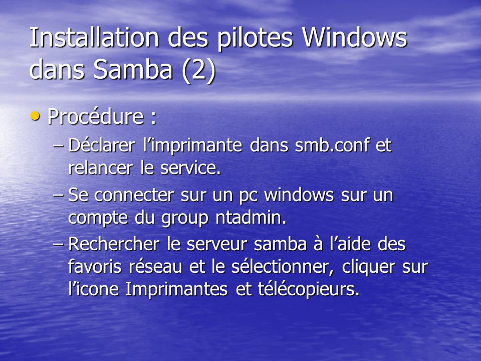 Installation des pilotes Windows dans Samba (2)