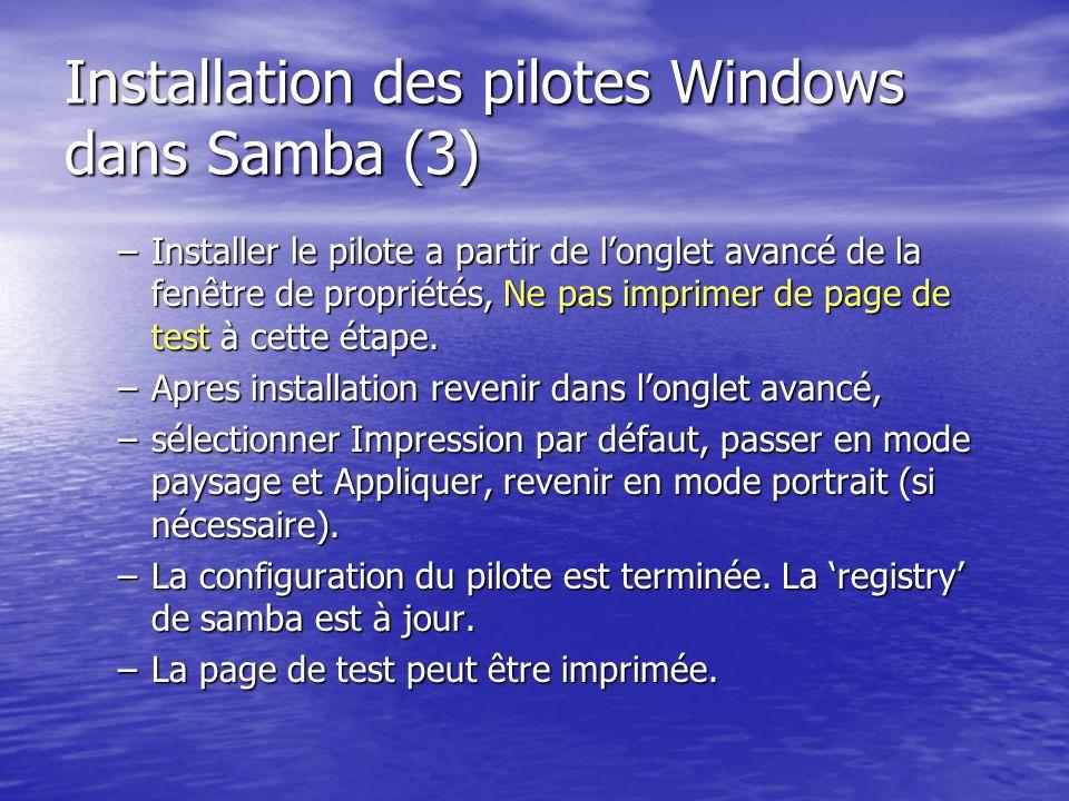 Installation des pilotes Windows dans Samba (3)