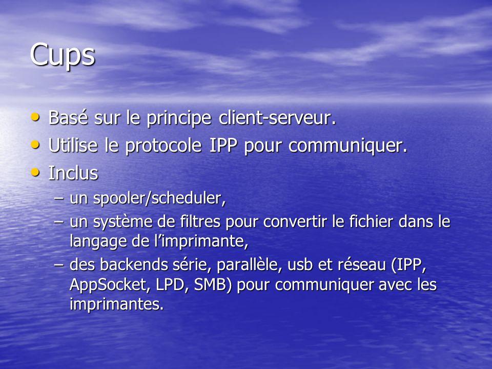 Cups Basé sur le principe client-serveur.