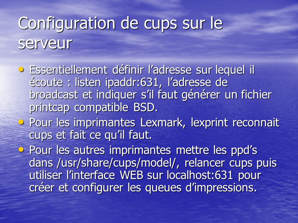 Configuration de cups sur le serveur