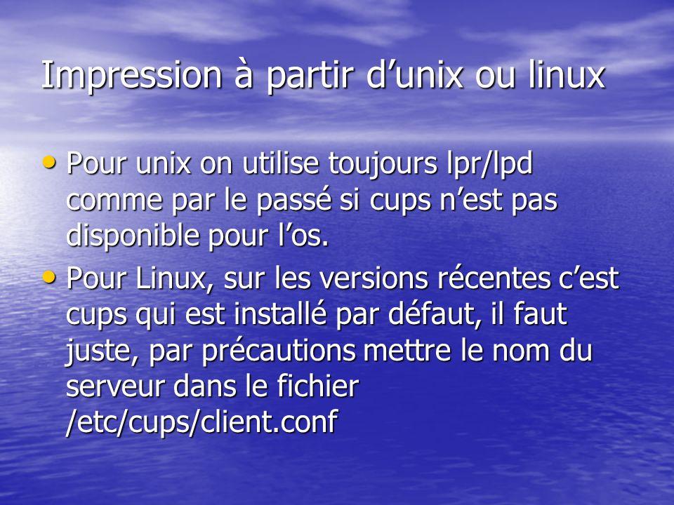 Impression à partir d'unix ou linux