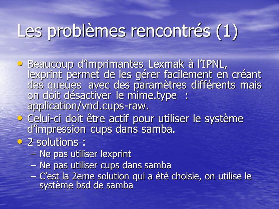 Les problèmes rencontrés (1)