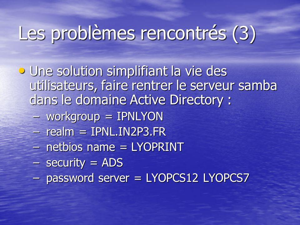 Les problèmes rencontrés (3)