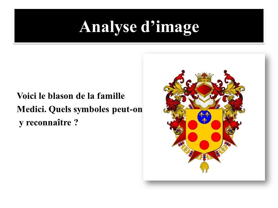 Analyse d'image Voici le blason de la famille Medici. Quels symboles peut-on y reconnaître