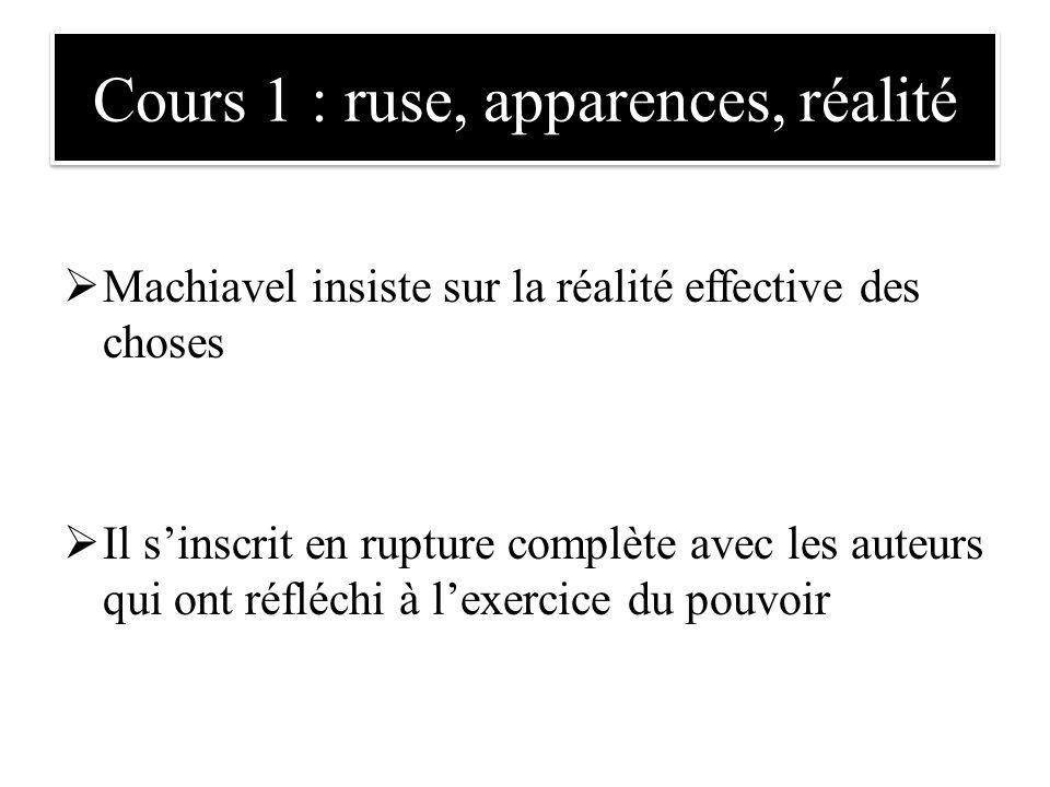 Cours 1 : ruse, apparences, réalité