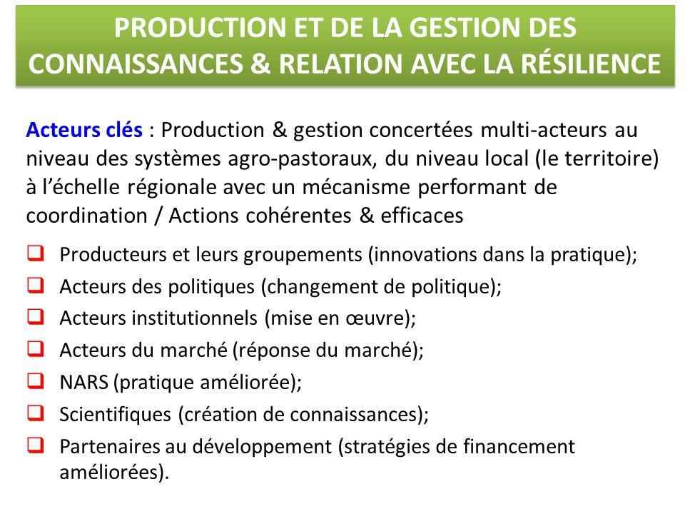 PRODUCTION ET DE LA GESTION DES CONNAISSANCES & RELATION AVEC LA RÉSILIENCE