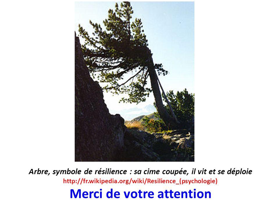 Arbre, symbole de résilience : sa cime coupée, il vit et se déploie http://fr.wikipedia.org/wiki/Resilience_(psychologie) Merci de votre attention