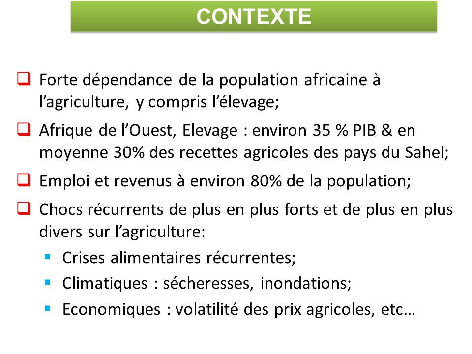 CONTEXTE Forte dépendance de la population africaine à l'agriculture, y compris l'élevage;