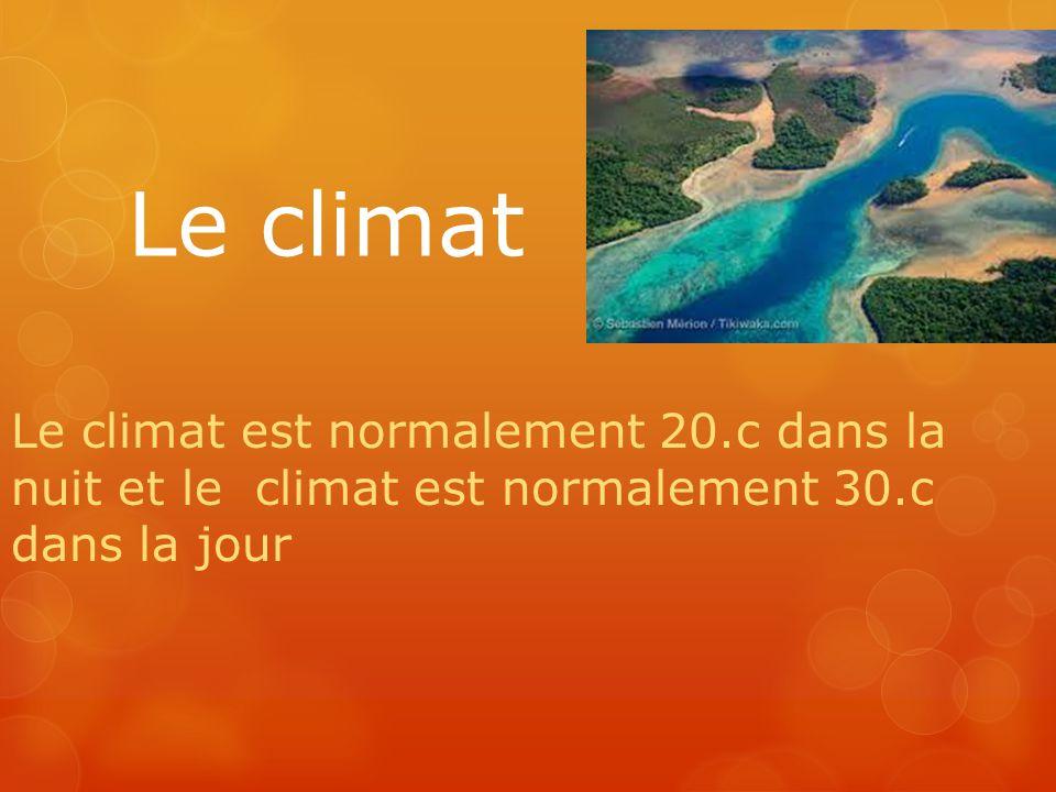 Le climat Le climat est normalement 20.c dans la nuit et le climat est normalement 30.c dans la jour.