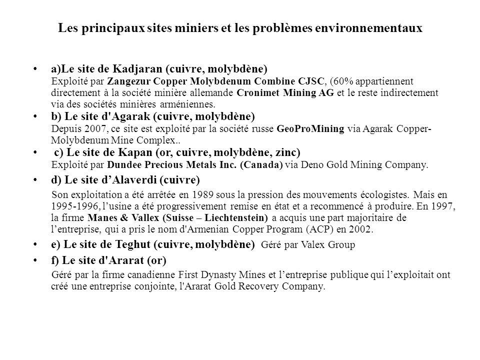 Les principaux sites miniers et les problèmes environnementaux