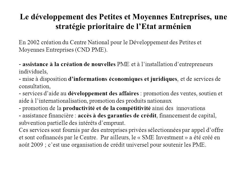 Le développement des Petites et Moyennes Entreprises, une stratégie prioritaire de l'Etat arménien