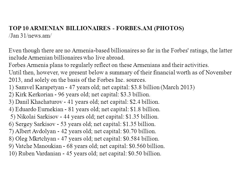 TOP 10 ARMENIAN BILLIONAIRES - FORBES.AM (PHOTOS)