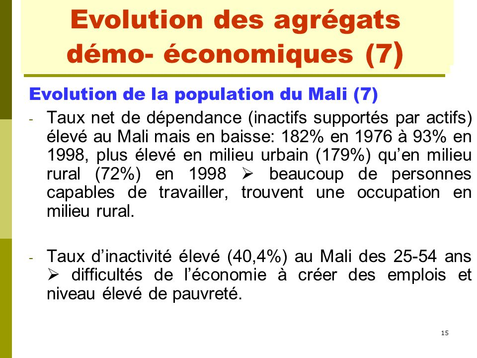 Evolution des agrégats démo- économiques (1)