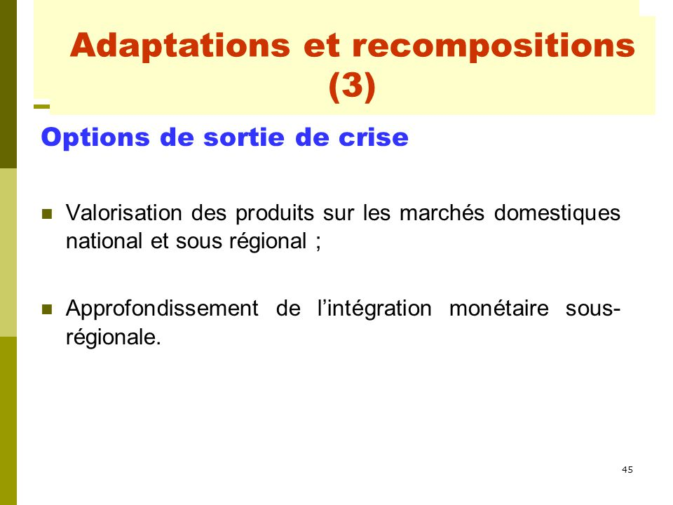Adaptations et recompositions