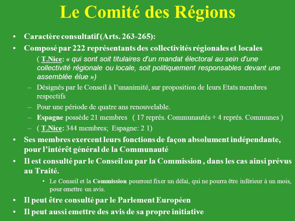 Le Comité des Régions Caractère consultatif (Arts. 263-265):