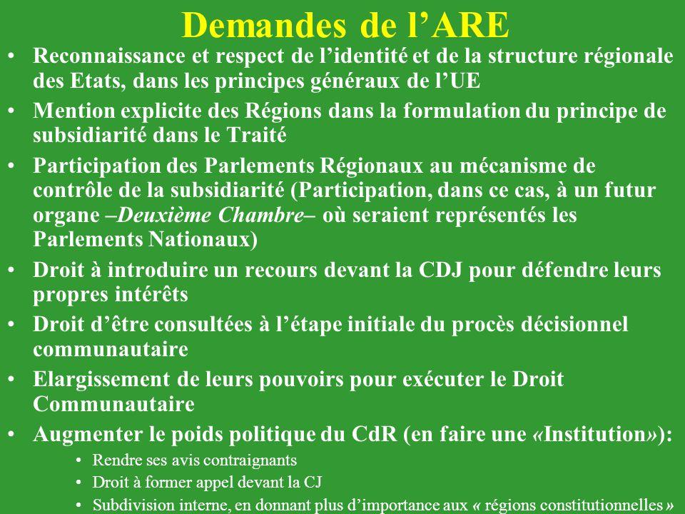 Demandes de l'ARE Reconnaissance et respect de l'identité et de la structure régionale des Etats, dans les principes généraux de l'UE.