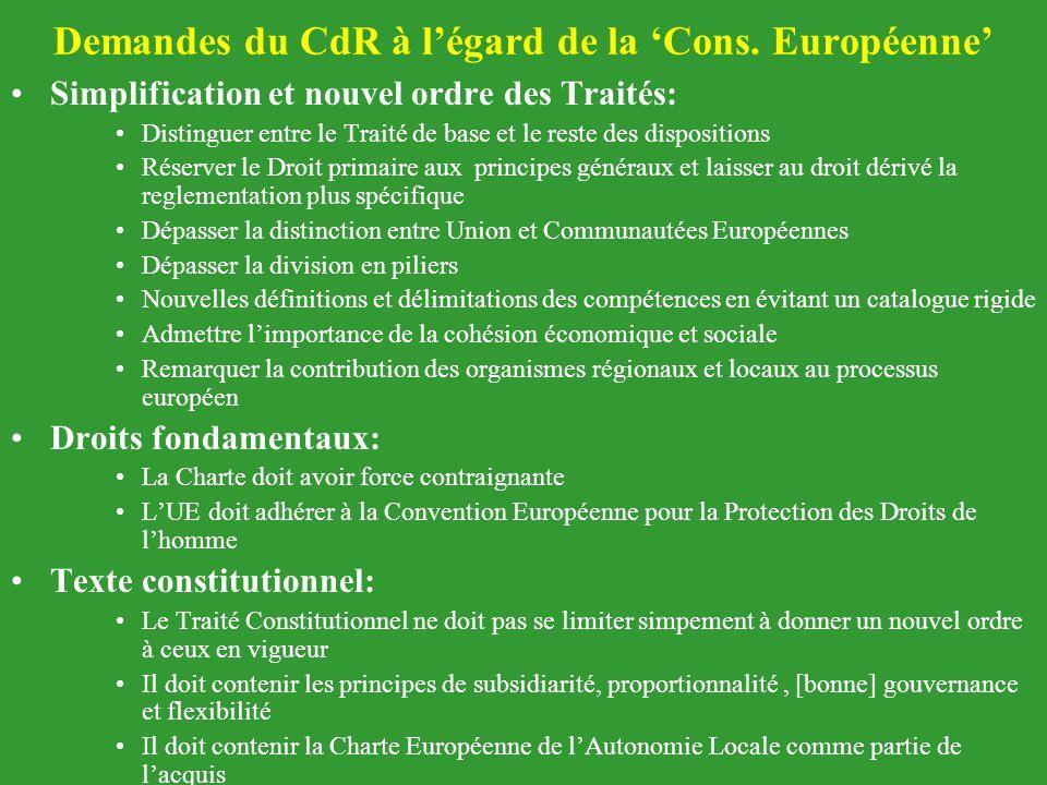 Demandes du CdR à l'égard de la 'Cons. Européenne'