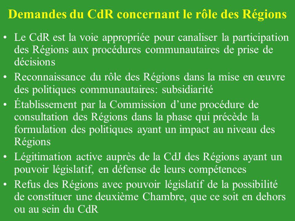 Demandes du CdR concernant le rôle des Régions