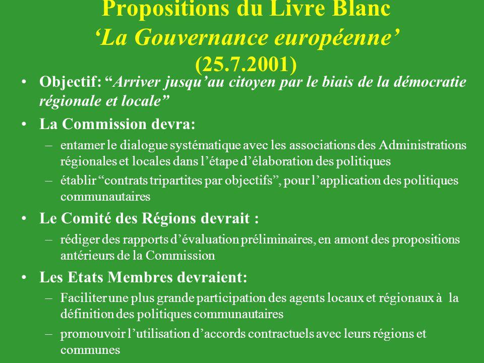 Propositions du Livre Blanc 'La Gouvernance européenne' (25.7.2001)