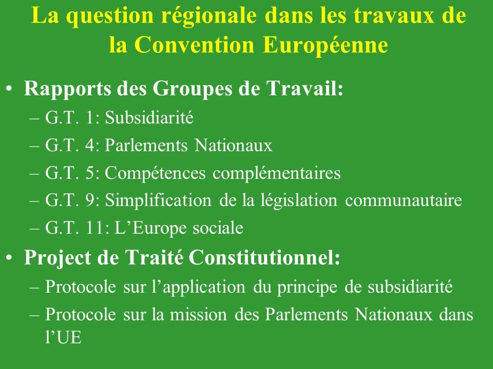 La question régionale dans les travaux de la Convention Européenne