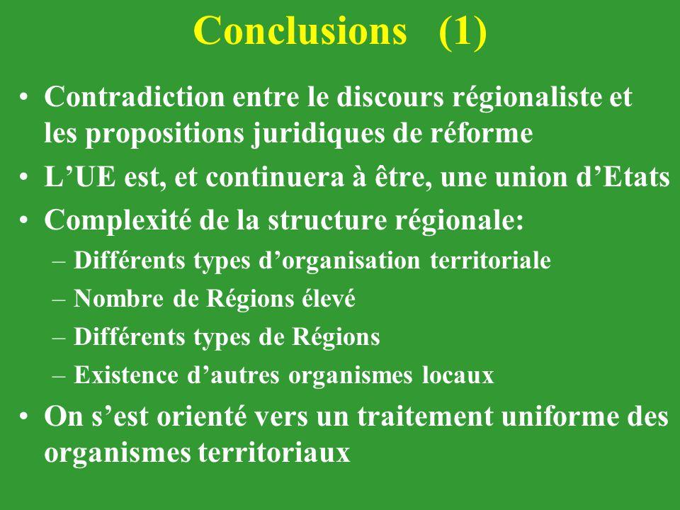 Conclusions (1) Contradiction entre le discours régionaliste et les propositions juridiques de réforme.