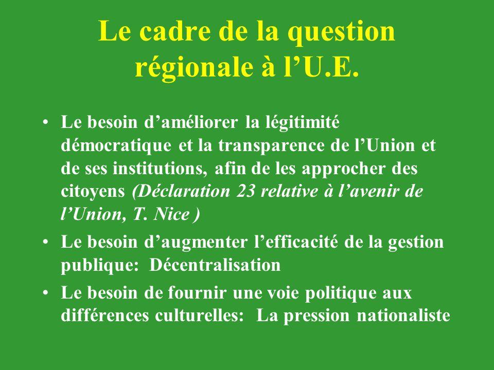 Le cadre de la question régionale à l'U.E.