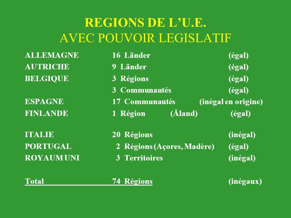 REGIONS DE L'U.E. AVEC POUVOIR LEGISLATIF