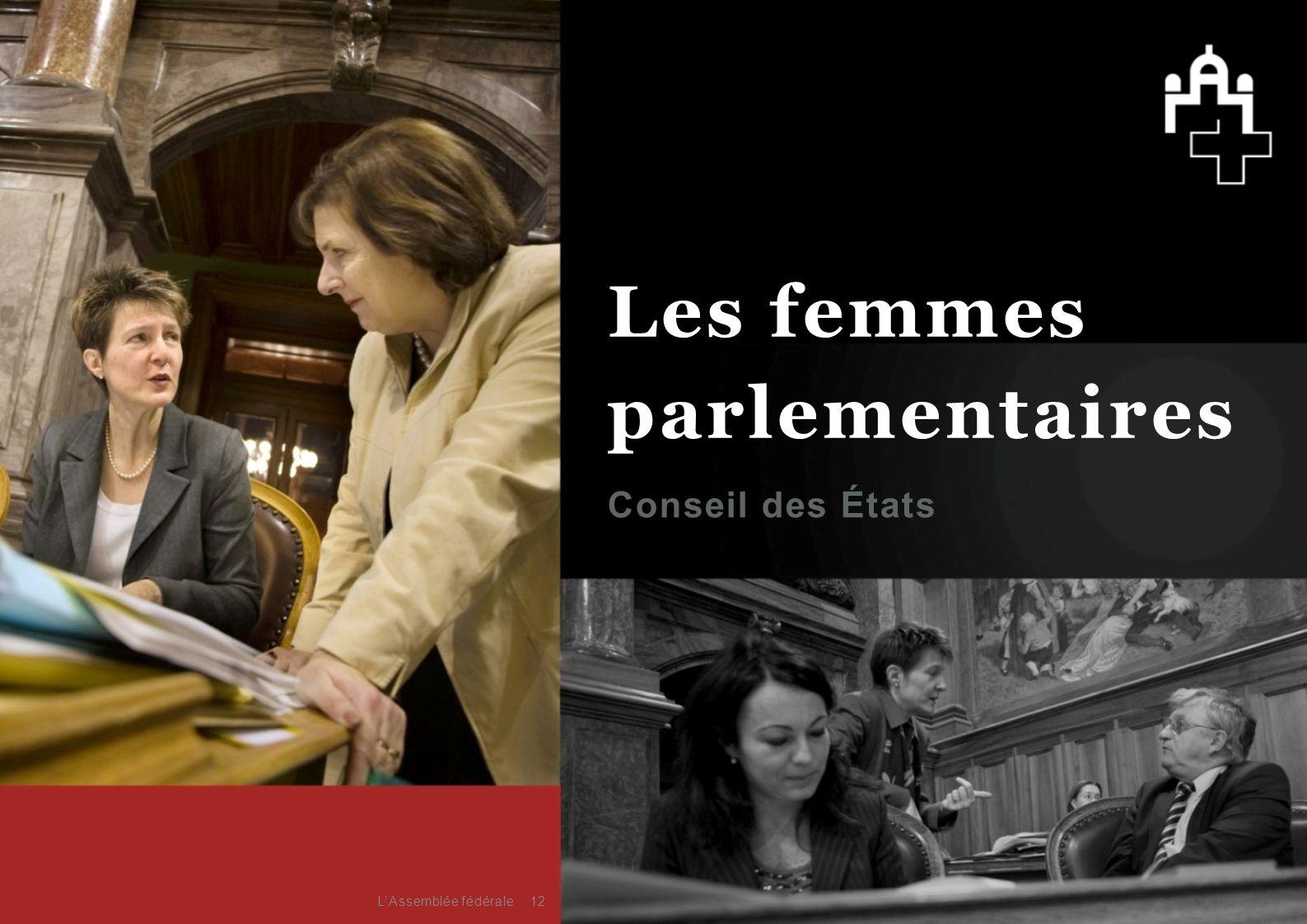 Les femmes parlementaires Conseil des États L'Assemblée fédérale
