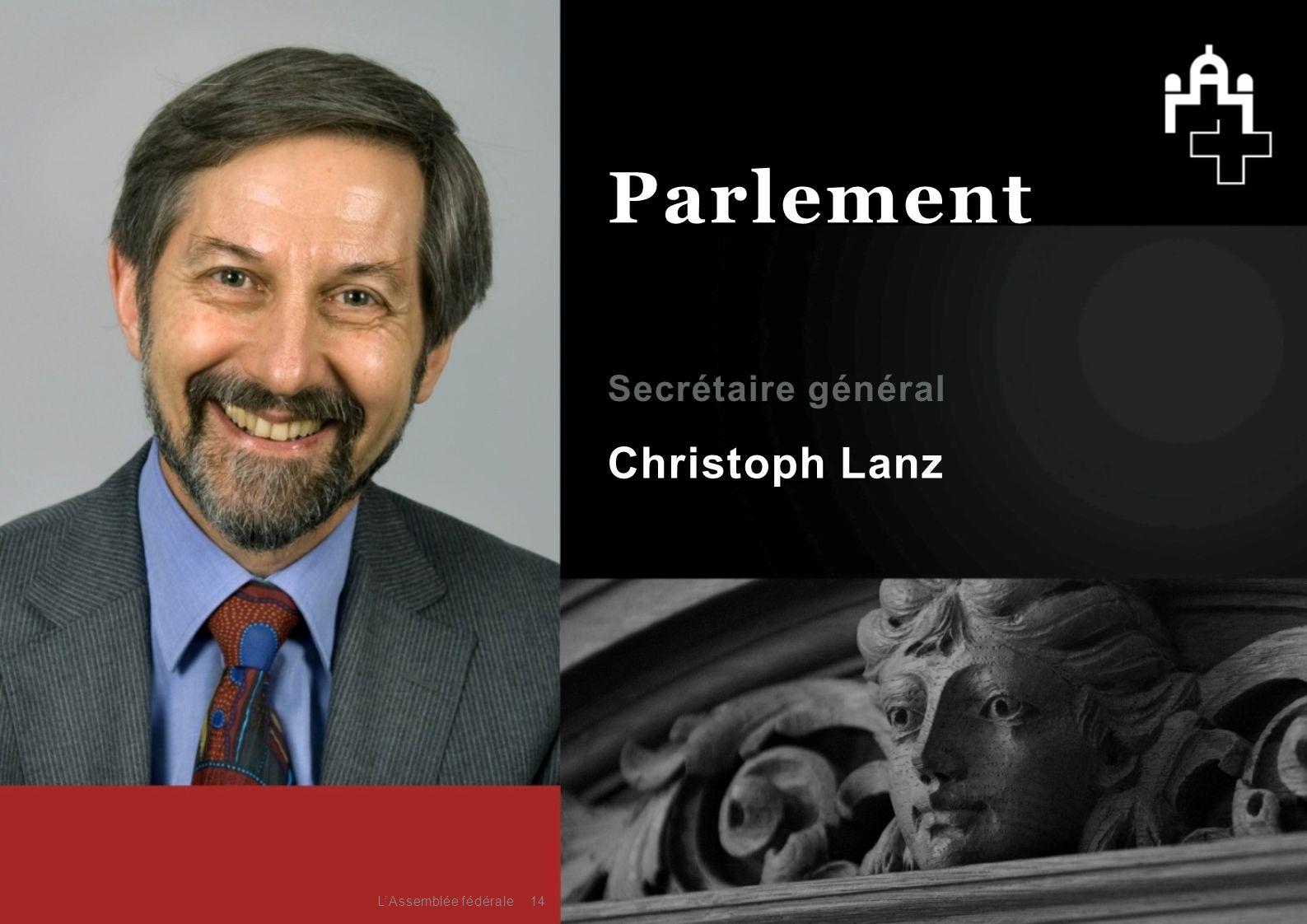 Parlement Secrétaire général Christoph Lanz L'Assemblée fédérale