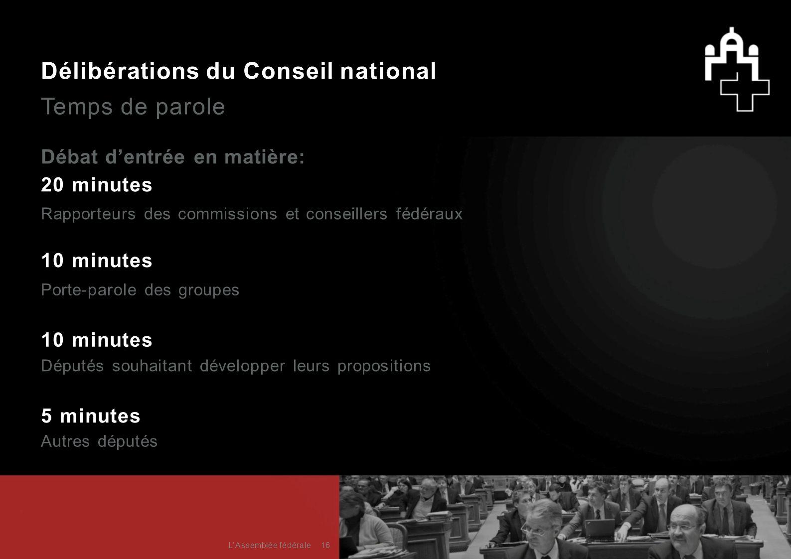 Délibérations du Conseil national