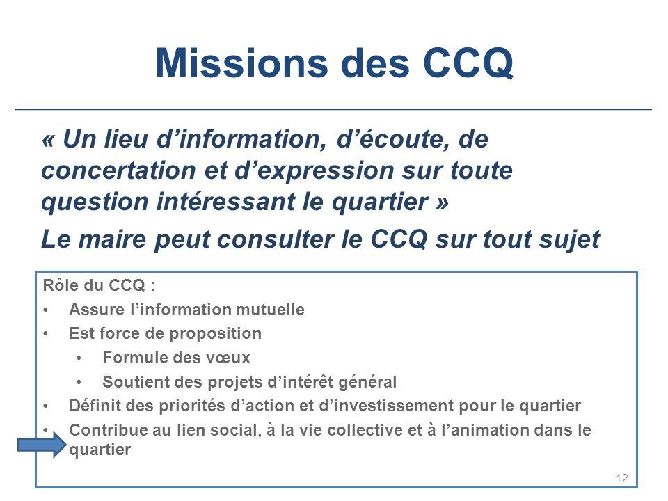 Missions des CCQ