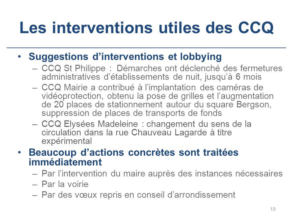 Les interventions utiles des CCQ