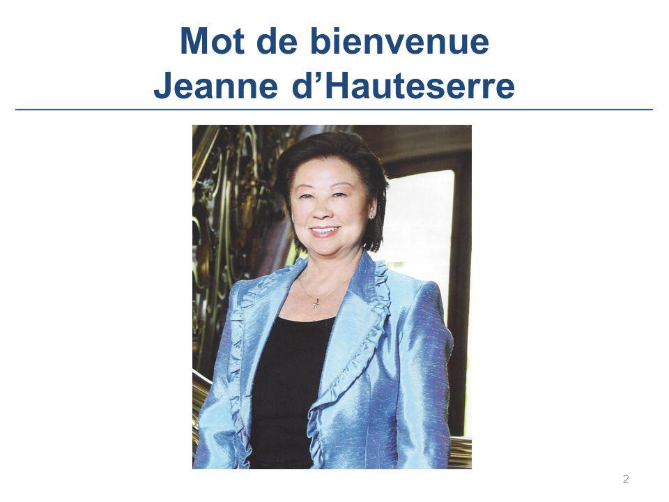 Mot de bienvenue Jeanne d'Hauteserre