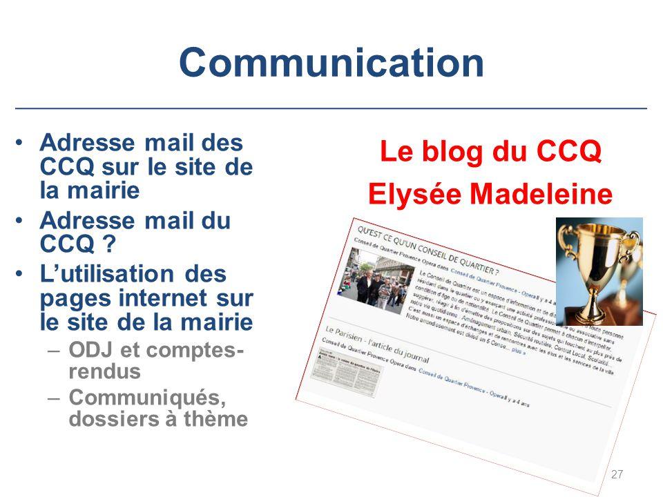 Communication Le blog du CCQ Elysée Madeleine