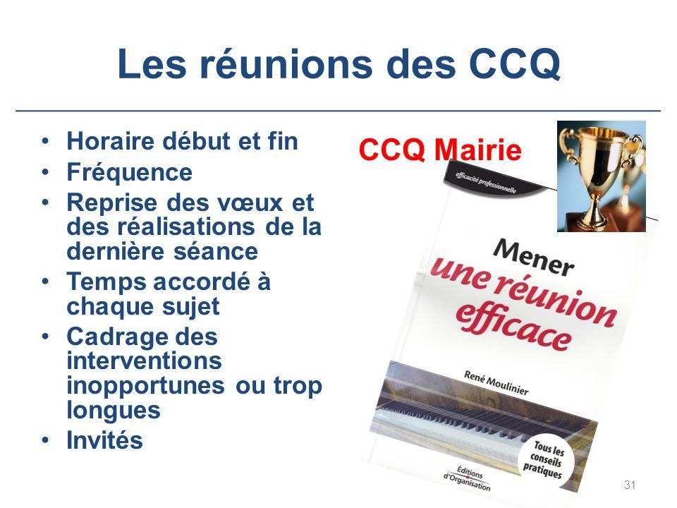 Les réunions des CCQ CCQ Mairie Horaire début et fin Fréquence