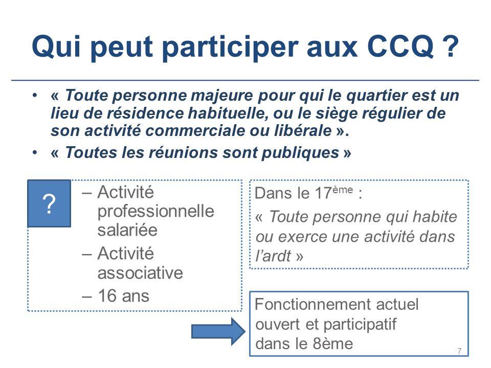 Qui peut participer aux CCQ
