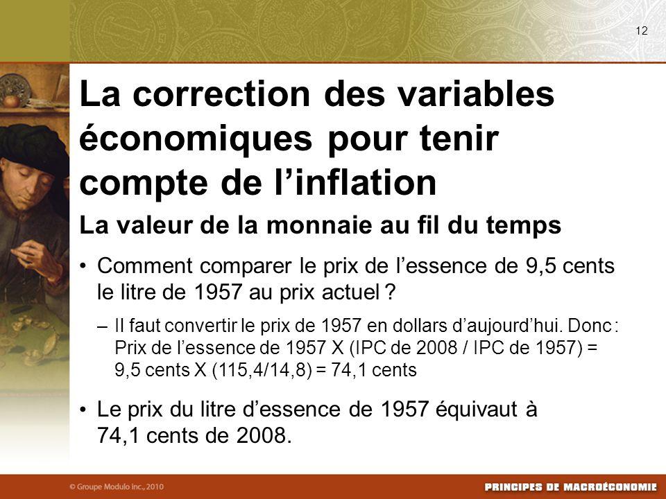 08/03/09 12. La correction des variables économiques pour tenir compte de l'inflation. La valeur de la monnaie au fil du temps.