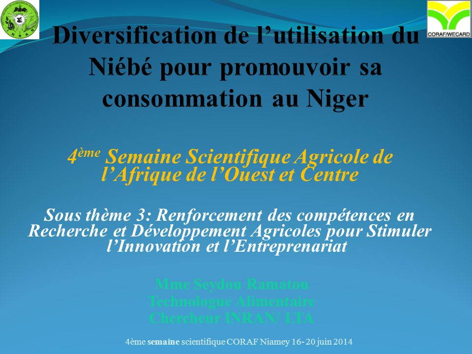 Diversification de l'utilisation du Niébé pour promouvoir sa consommation au Niger