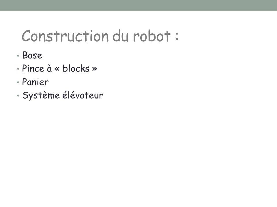 Construction du robot :