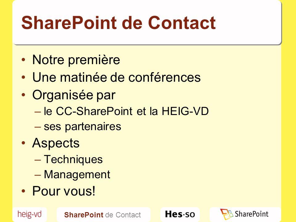 SharePoint de Contact Notre première. Une matinée de conférences. Organisée par. le CC-SharePoint et la HEIG-VD.