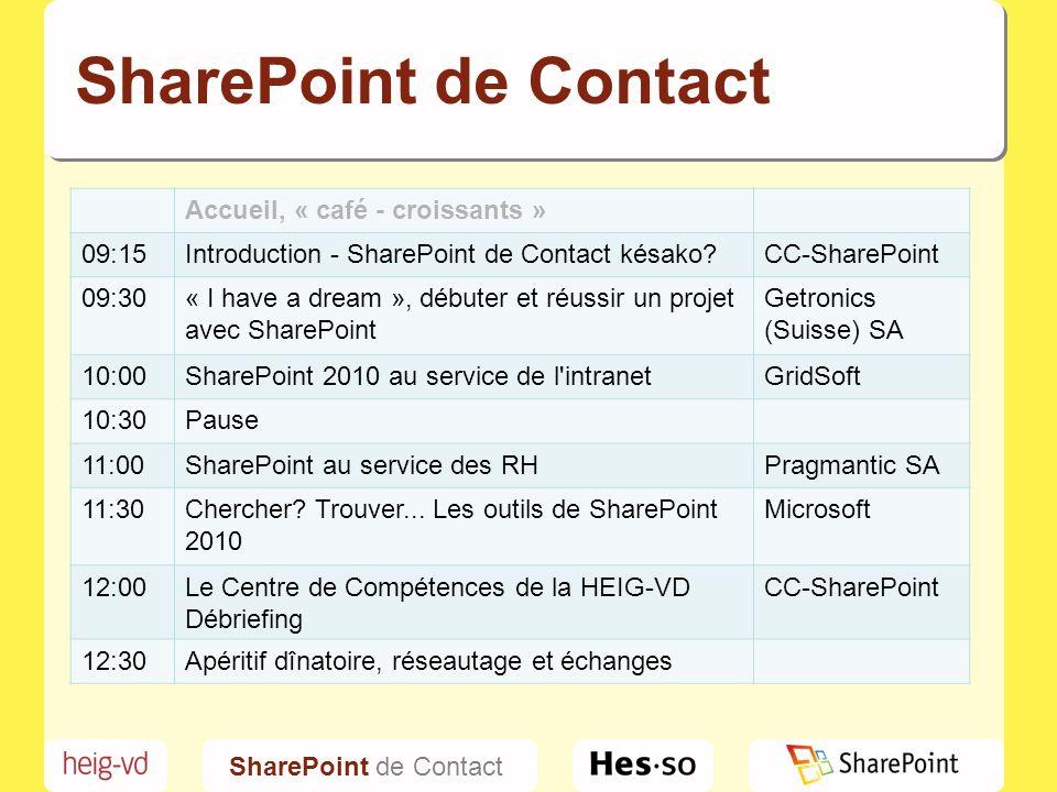 SharePoint de Contact Accueil, « café - croissants » 09:15
