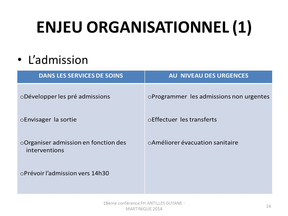 ENJEU ORGANISATIONNEL (1)