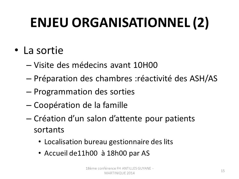ENJEU ORGANISATIONNEL (2)