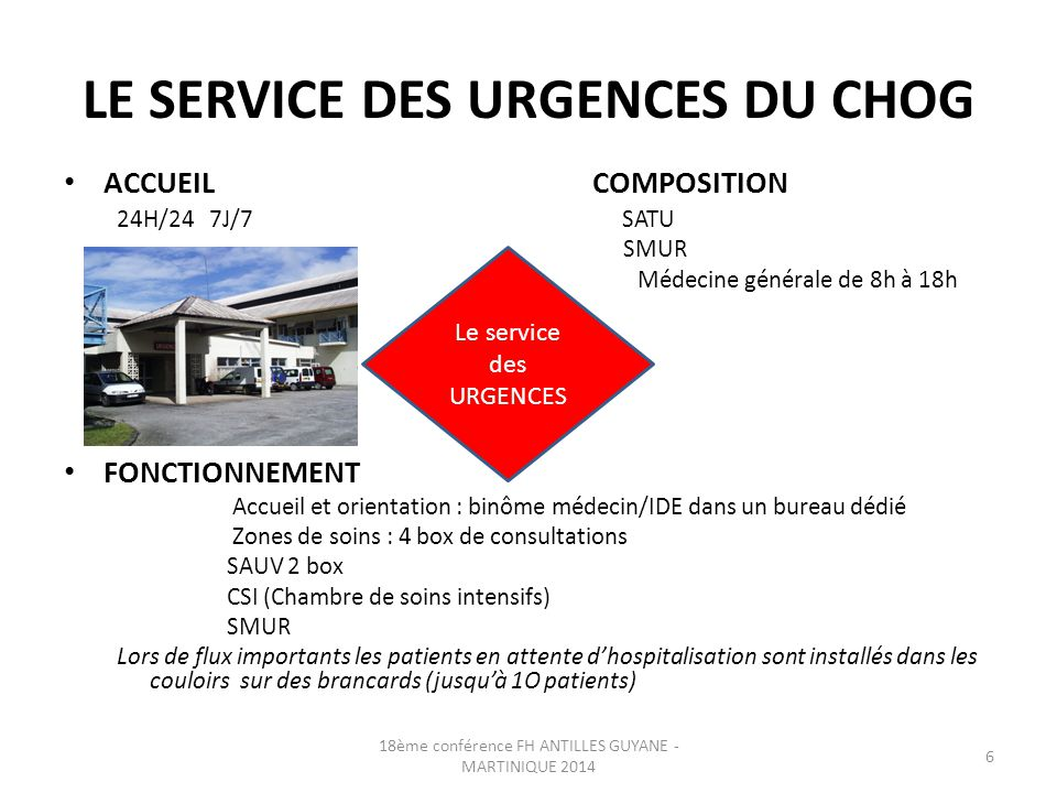LE SERVICE DES URGENCES DU CHOG