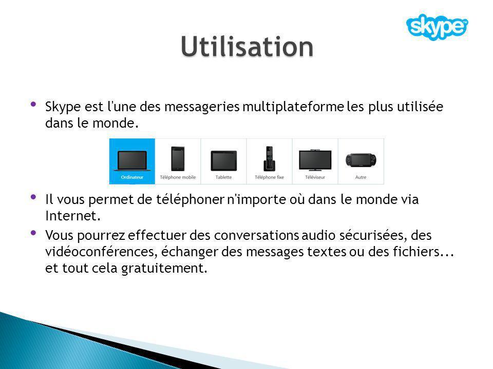 Utilisation Skype est l une des messageries multiplateforme les plus utilisée dans le monde.