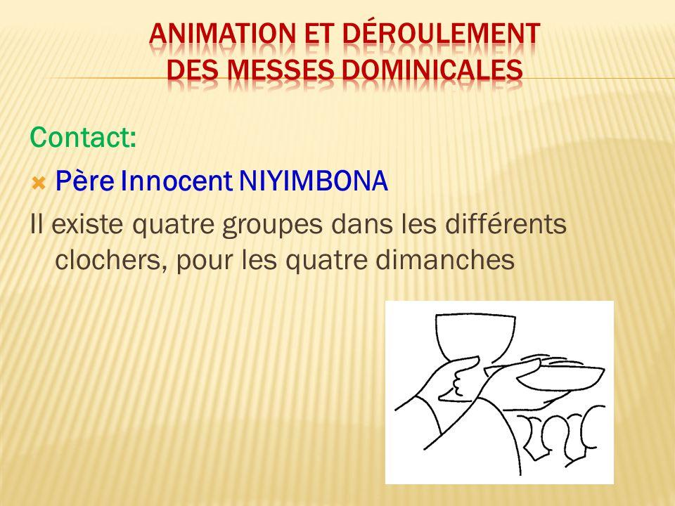 Animation et déroulement des messes dominicales