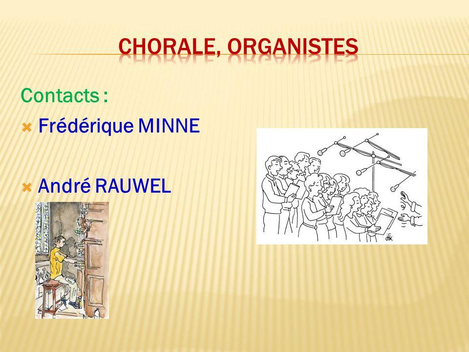 CHORALE, ORGANISTES Contacts : Frédérique MINNE André RAUWEL